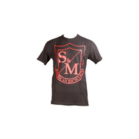 S&M Big Shield Tee Red On Black
