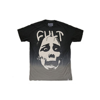 CULT FACE DIP DYE TEE BLACK/GREY M